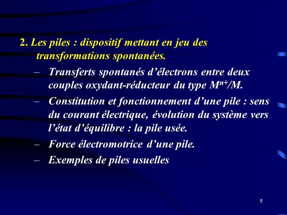 2. Les piles : dispositif mettant en jeu des transformations spontanées.
