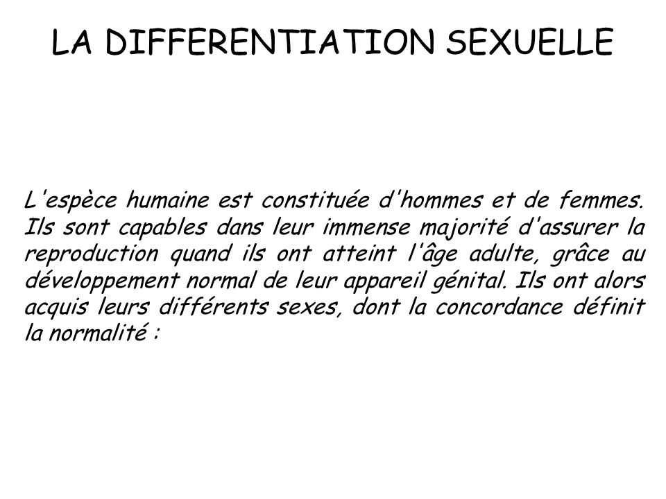 LA DIFFERENTIATION SEXUELLE