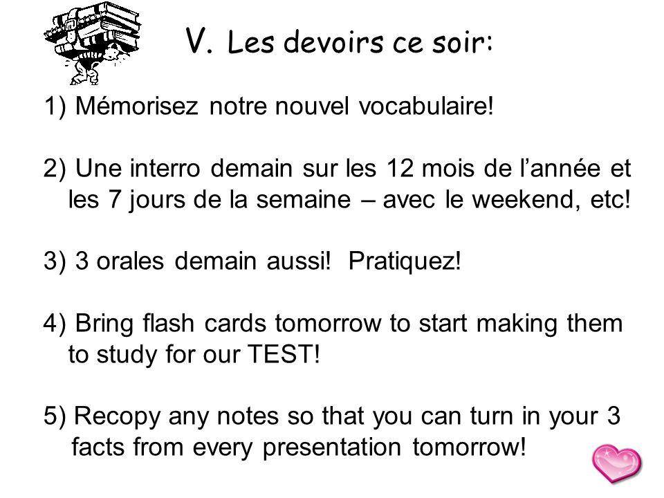 V. Les devoirs ce soir: Mémorisez notre nouvel vocabulaire!