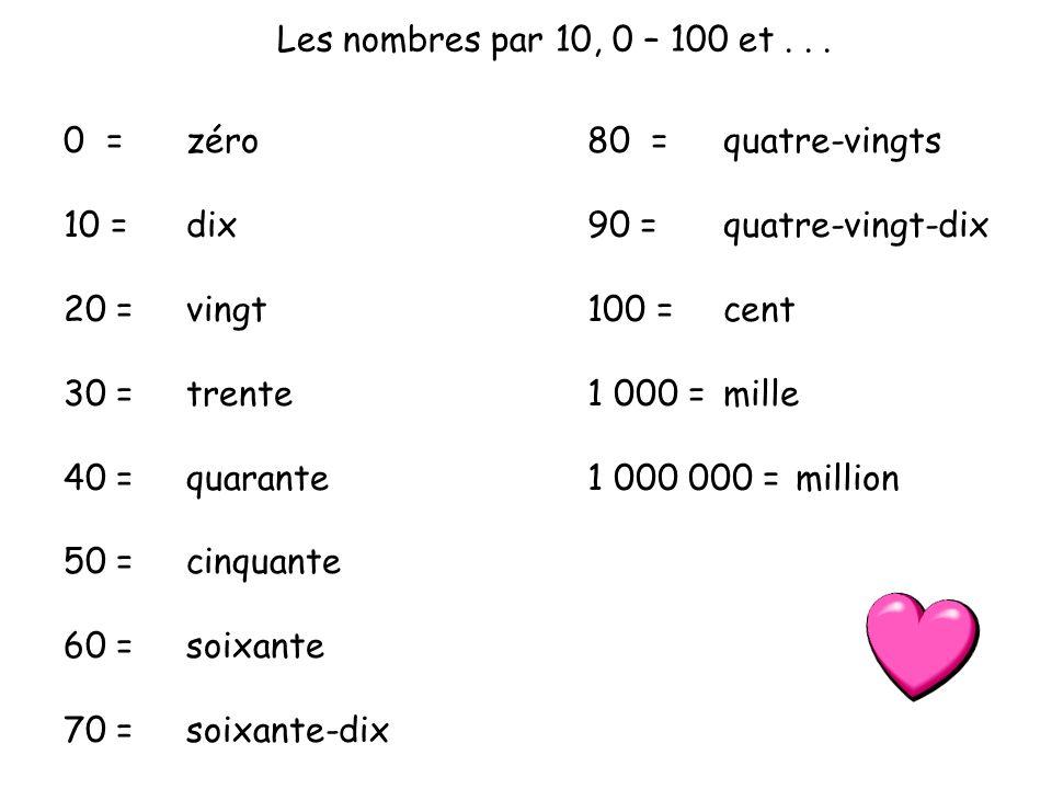 Les nombres par 10, 0 – 100 et . . . 0 = 10 = 20 = 30 = 40 = 50 = 60 = 70 = zéro. dix. vingt.
