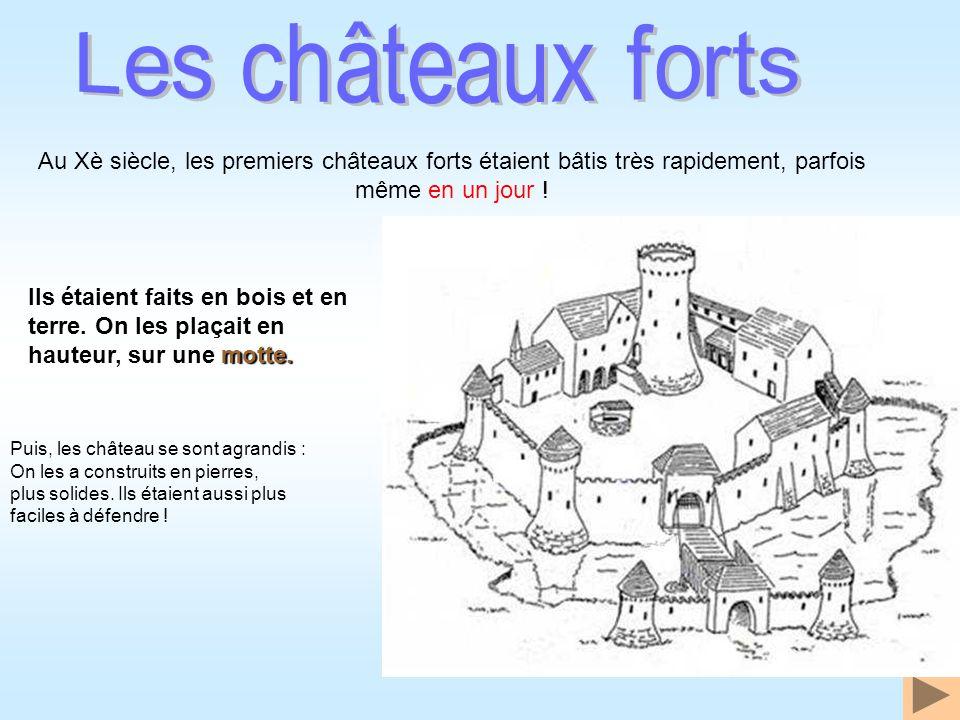 Les châteaux forts Au Xè siècle, les premiers châteaux forts étaient bâtis très rapidement, parfois même en un jour !
