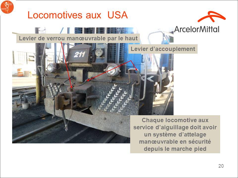 Locomotives aux USA Levier de verrou manœuvrable par le haut