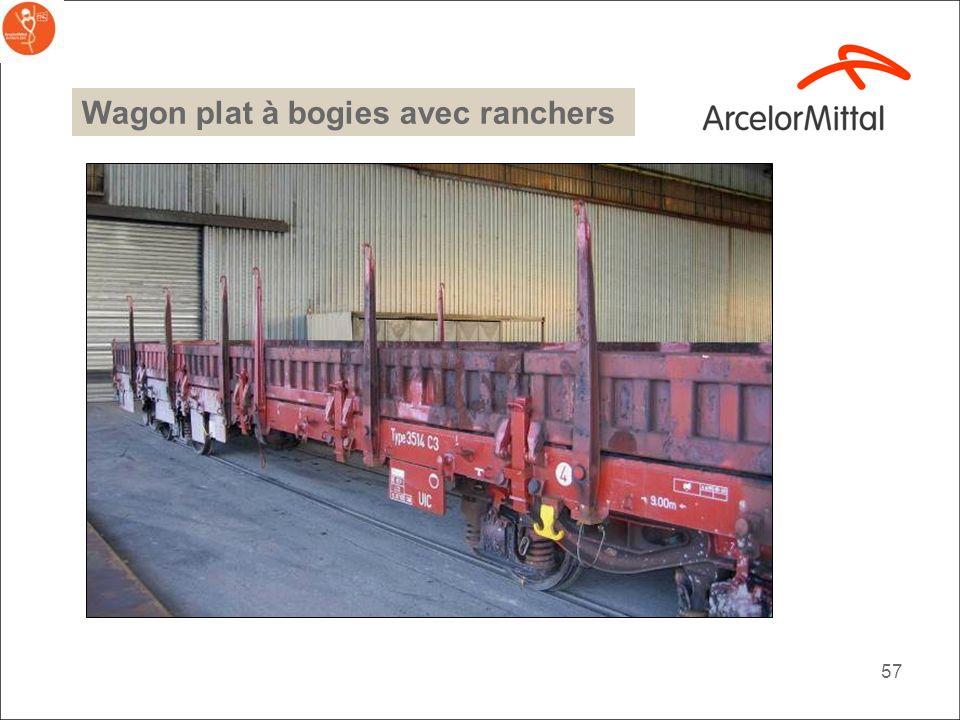 Wagon plat à bogies avec ranchers