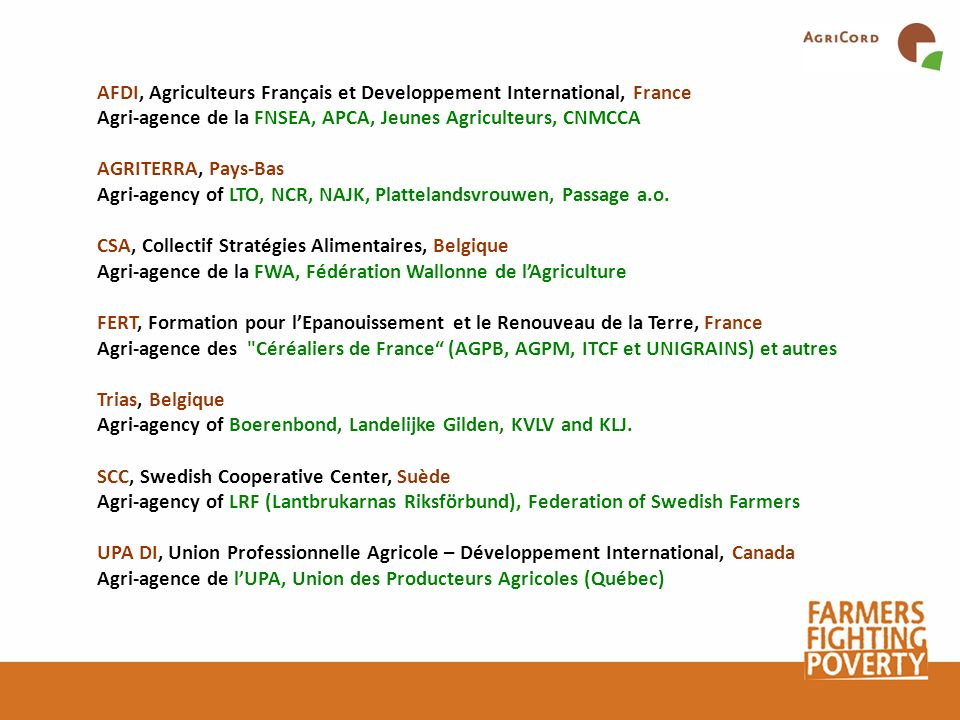 AFDI, Agriculteurs Français et Developpement International, France