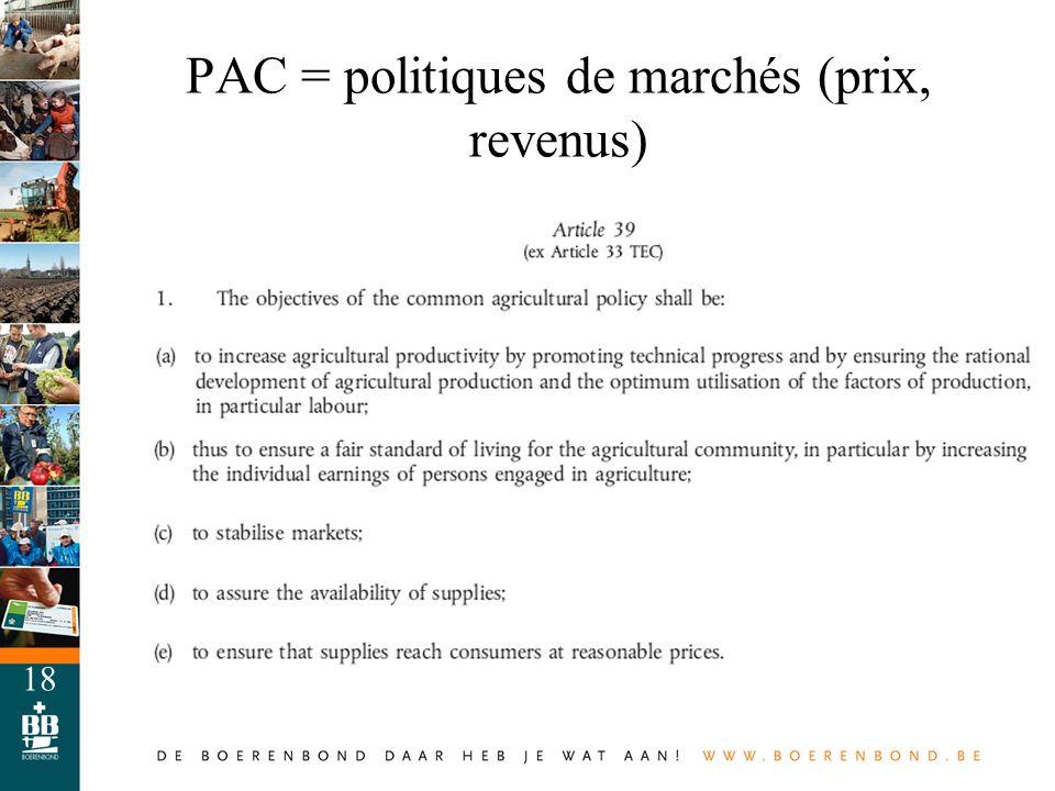 PAC = politiques de marchés (prix, revenus)