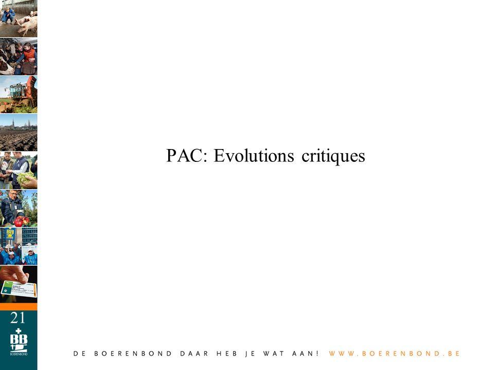 PAC: Evolutions critiques