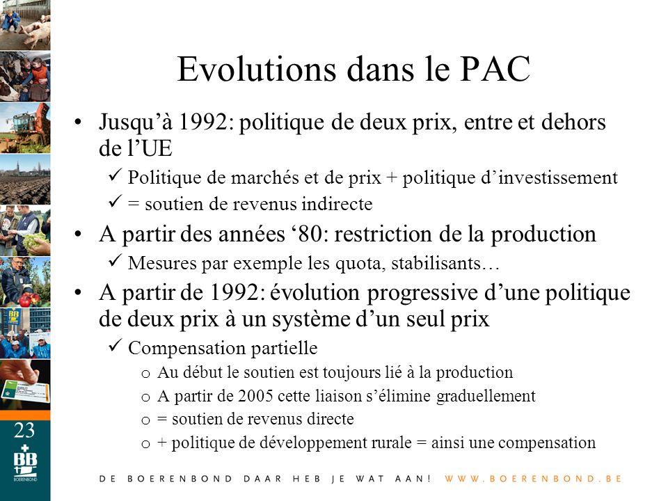 Evolutions dans le PAC Jusqu'à 1992: politique de deux prix, entre et dehors de l'UE. Politique de marchés et de prix + politique d'investissement.
