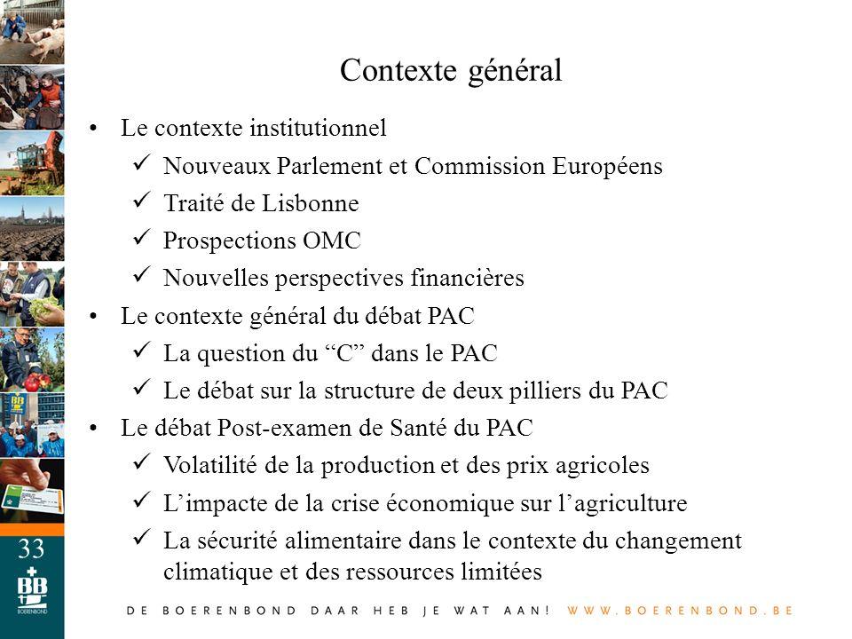 Contexte général Le contexte institutionnel