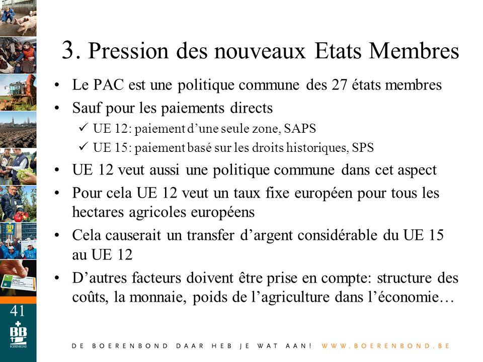 3. Pression des nouveaux Etats Membres