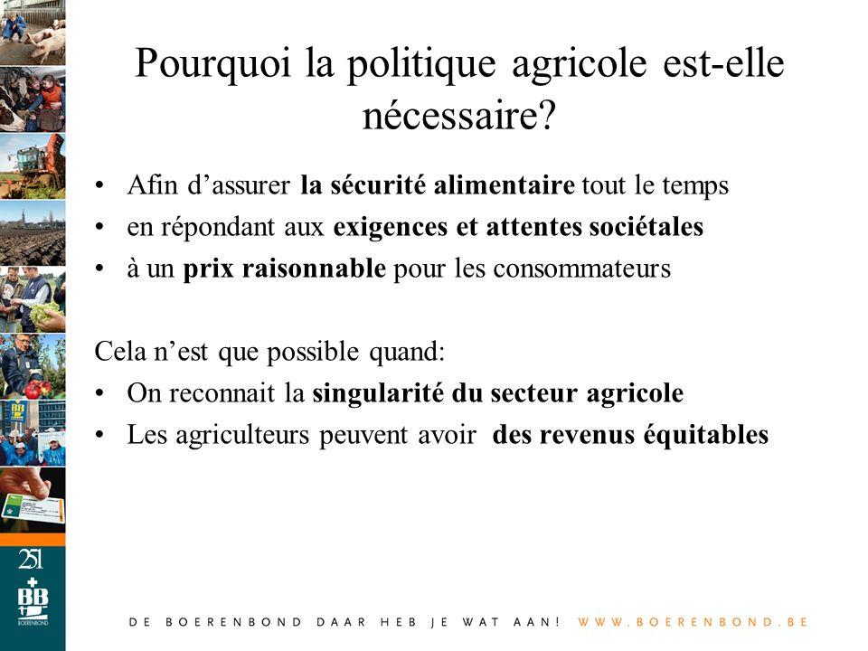 Pourquoi la politique agricole est-elle nécessaire