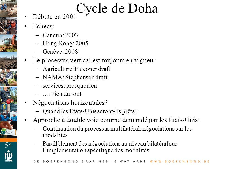 Cycle de Doha Débute en 2001 Echecs: