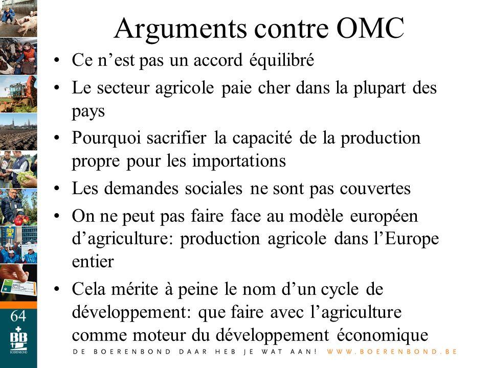 Arguments contre OMC Ce n'est pas un accord équilibré
