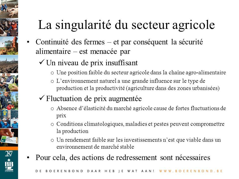 La singularité du secteur agricole