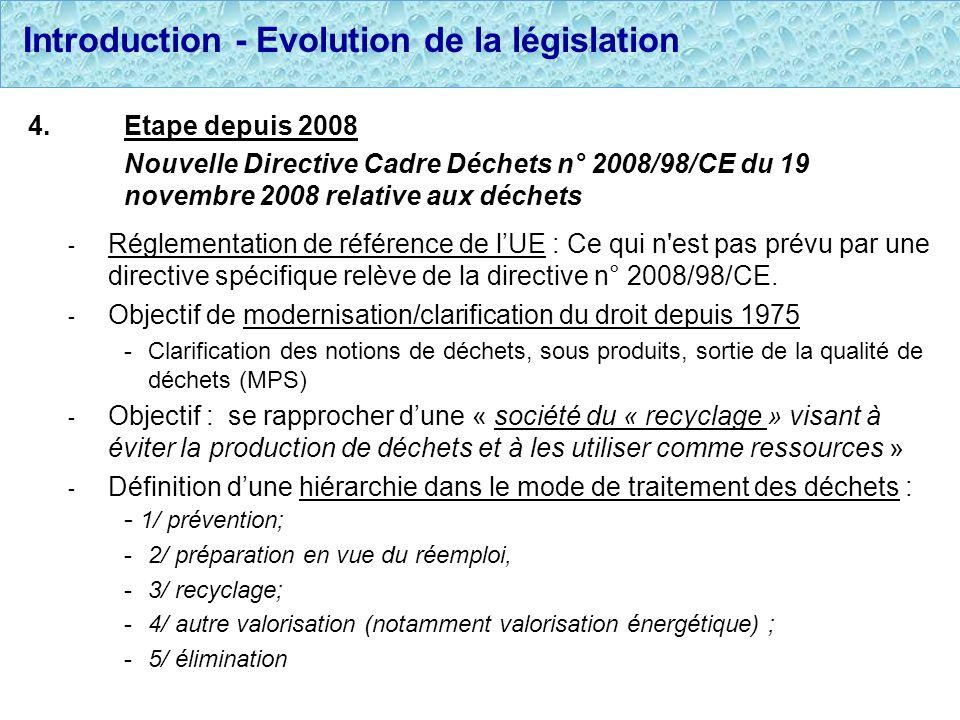 Introduction - Evolution de la législation