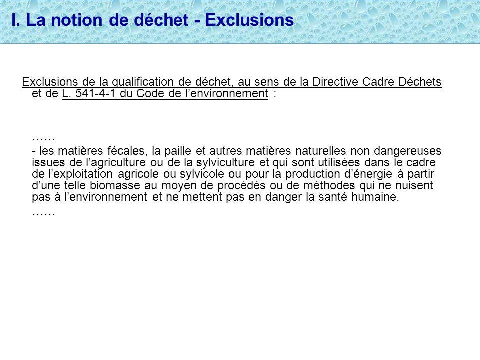 I. La notion de déchet - Exclusions