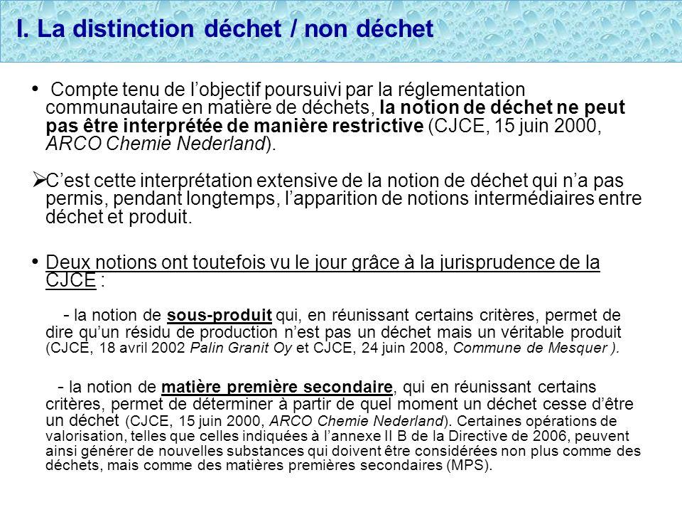 I. La distinction déchet / non déchet