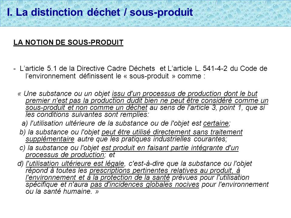 I. La distinction déchet / sous-produit