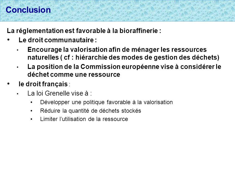 Conclusion La réglementation est favorable à la bioraffinerie :