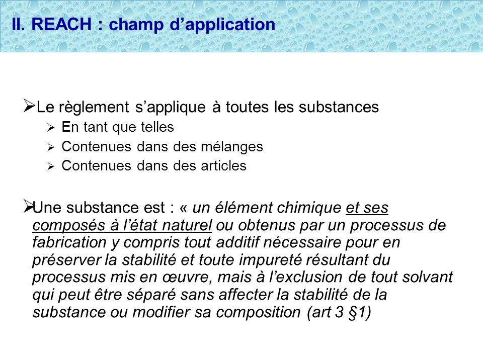 II. REACH : champ d'application