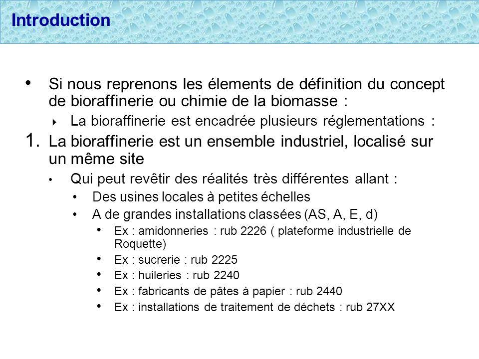 IntroductionSi nous reprenons les élements de définition du concept de bioraffinerie ou chimie de la biomasse :