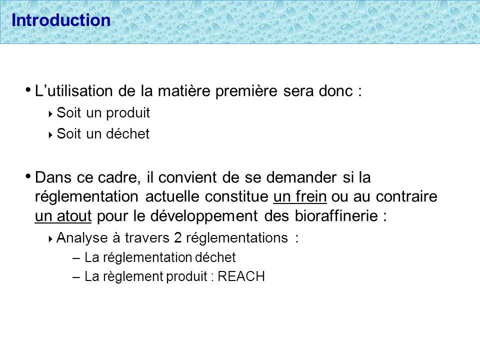 Introduction L'utilisation de la matière première sera donc :