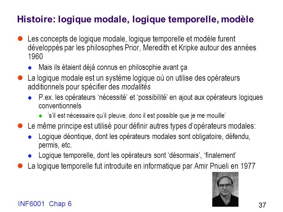 Histoire: logique modale, logique temporelle, modèle