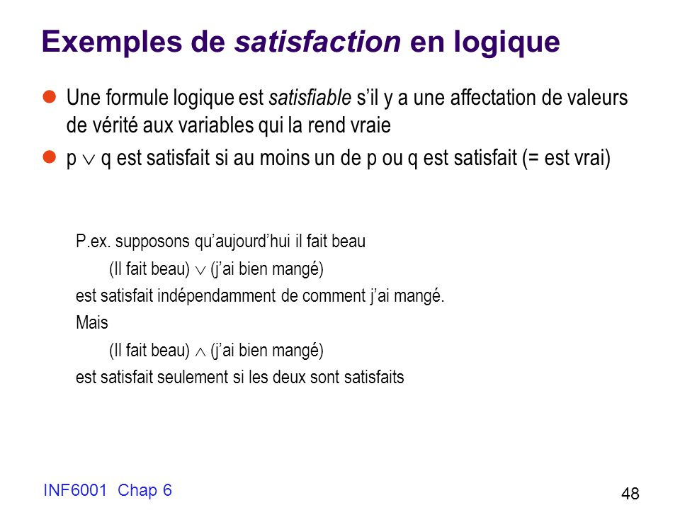 Exemples de satisfaction en logique