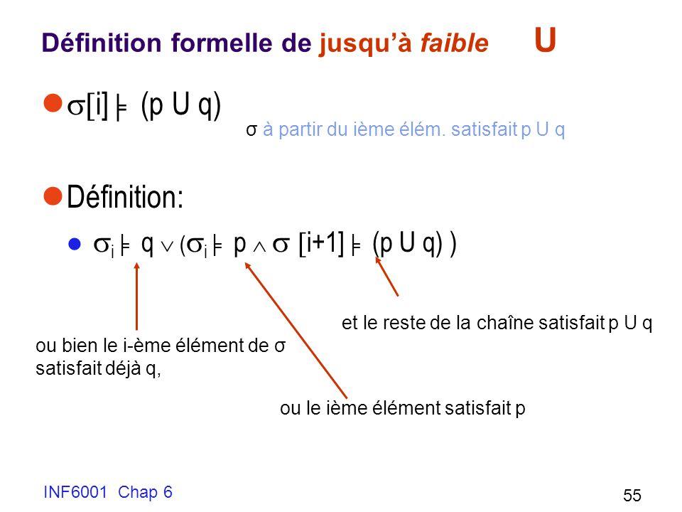 Définition formelle de jusqu'à faible U