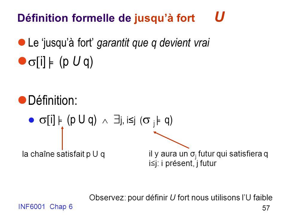 Définition formelle de jusqu'à fort U