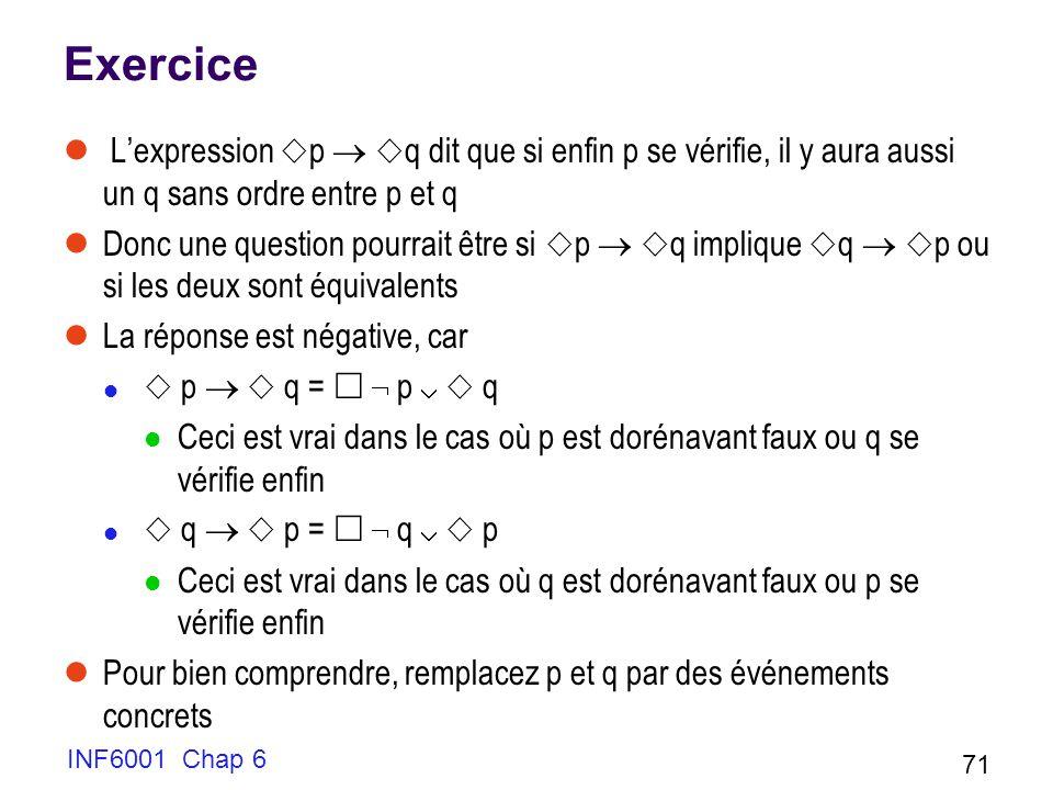 Exercice L'expression p  q dit que si enfin p se vérifie, il y aura aussi un q sans ordre entre p et q.