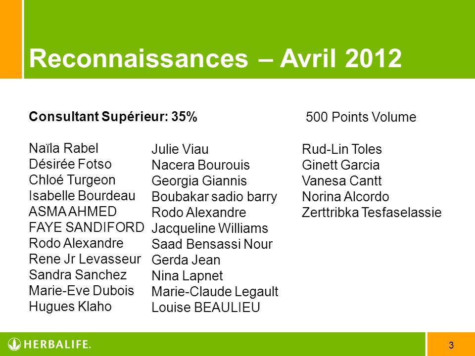 Reconnaissances – Avril 2012
