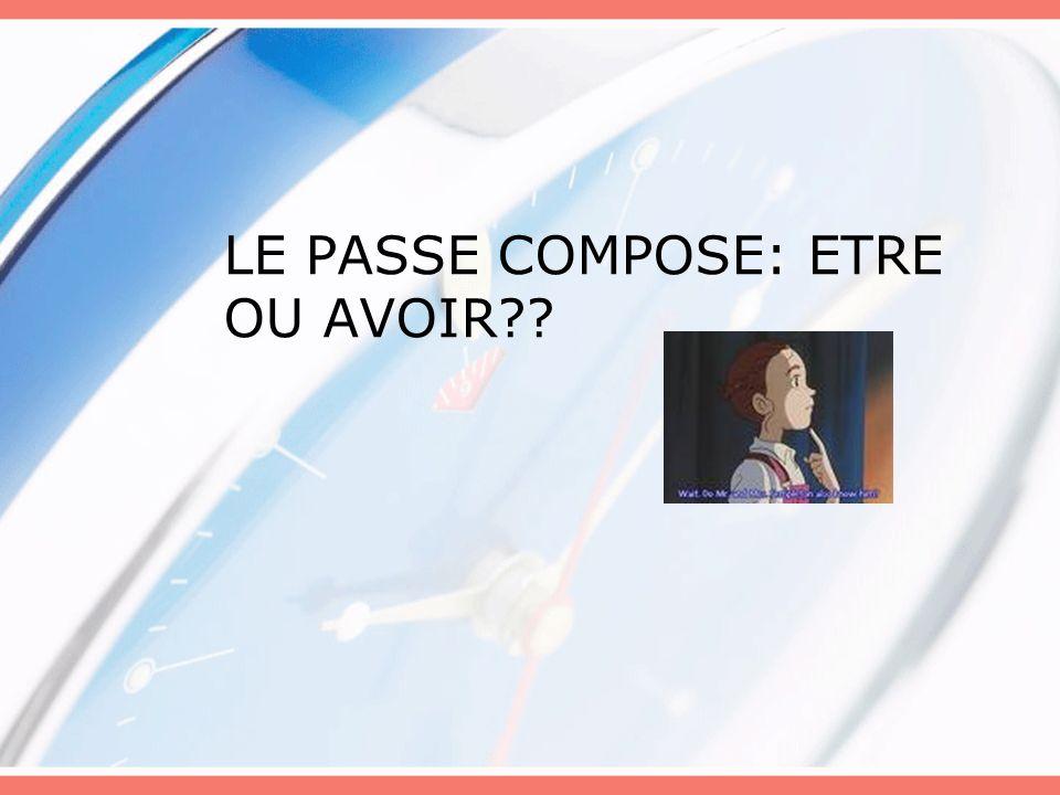 LE PASSE COMPOSE: ETRE OU AVOIR