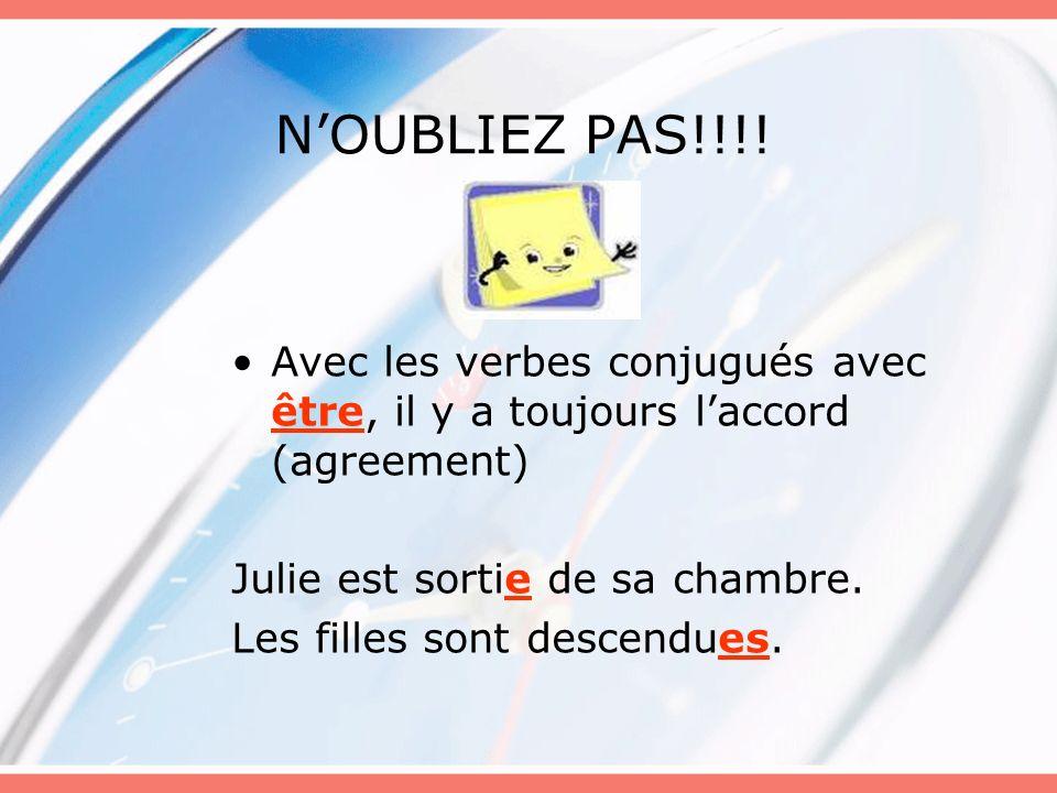 N'OUBLIEZ PAS!!!!Avec les verbes conjugués avec être, il y a toujours l'accord (agreement) Julie est sortie de sa chambre.