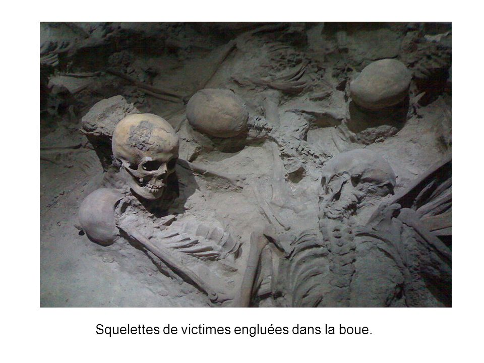 Squelettes de victimes engluées dans la boue.
