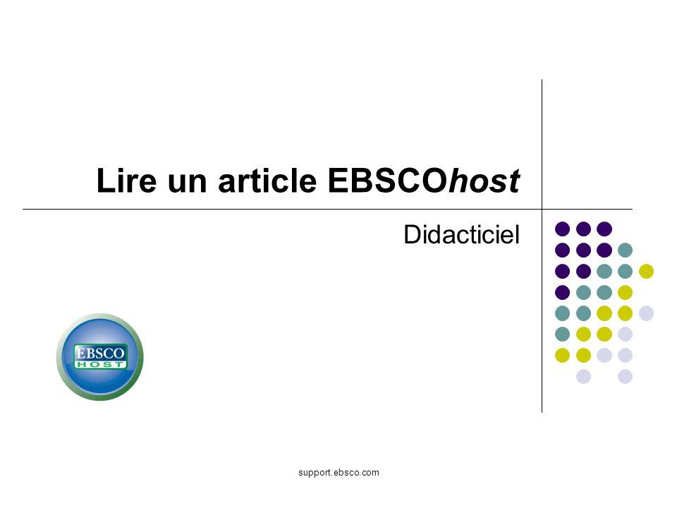 Lire un article EBSCOhost