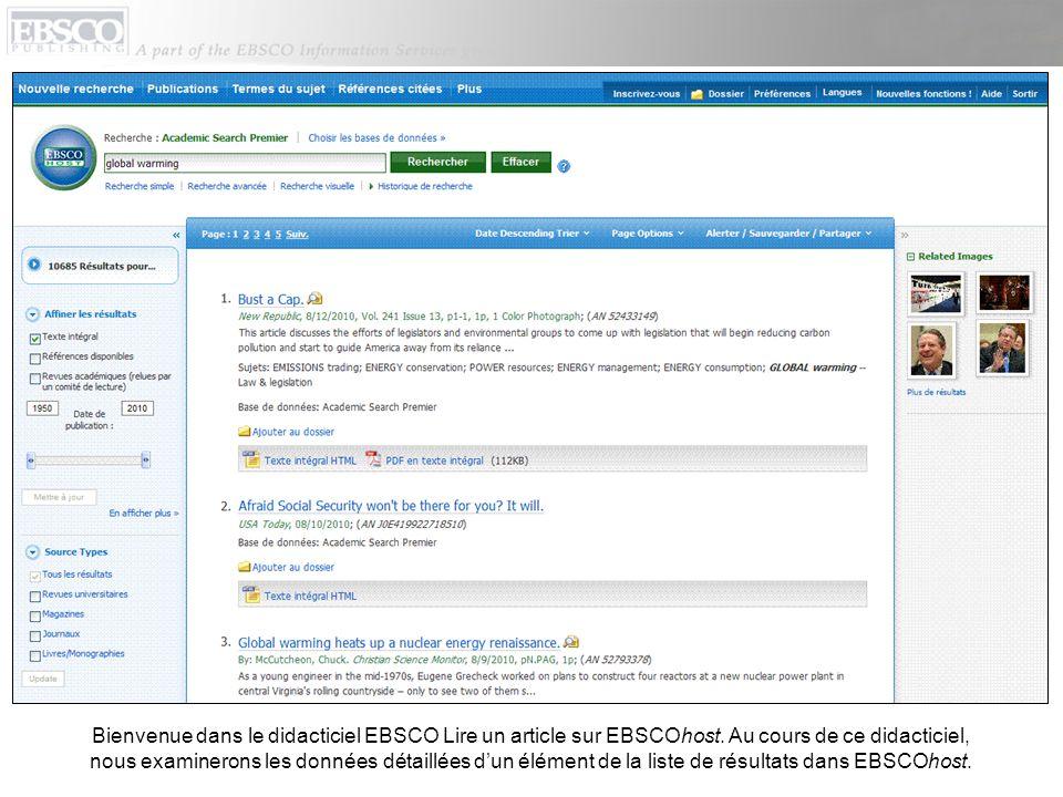 Bienvenue dans le didacticiel EBSCO Lire un article sur EBSCOhost