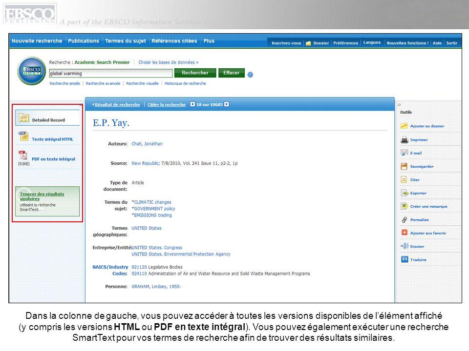 Dans la colonne de gauche, vous pouvez accéder à toutes les versions disponibles de l'élément affiché (y compris les versions HTML ou PDF en texte intégral).