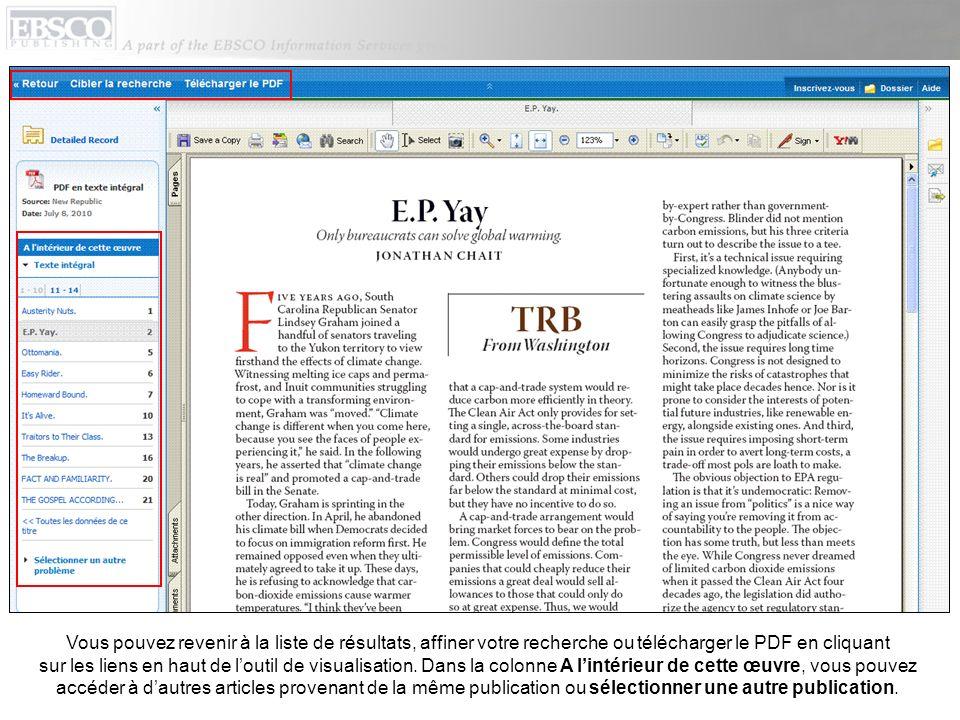 Vous pouvez revenir à la liste de résultats, affiner votre recherche ou télécharger le PDF en cliquant sur les liens en haut de l'outil de visualisation.