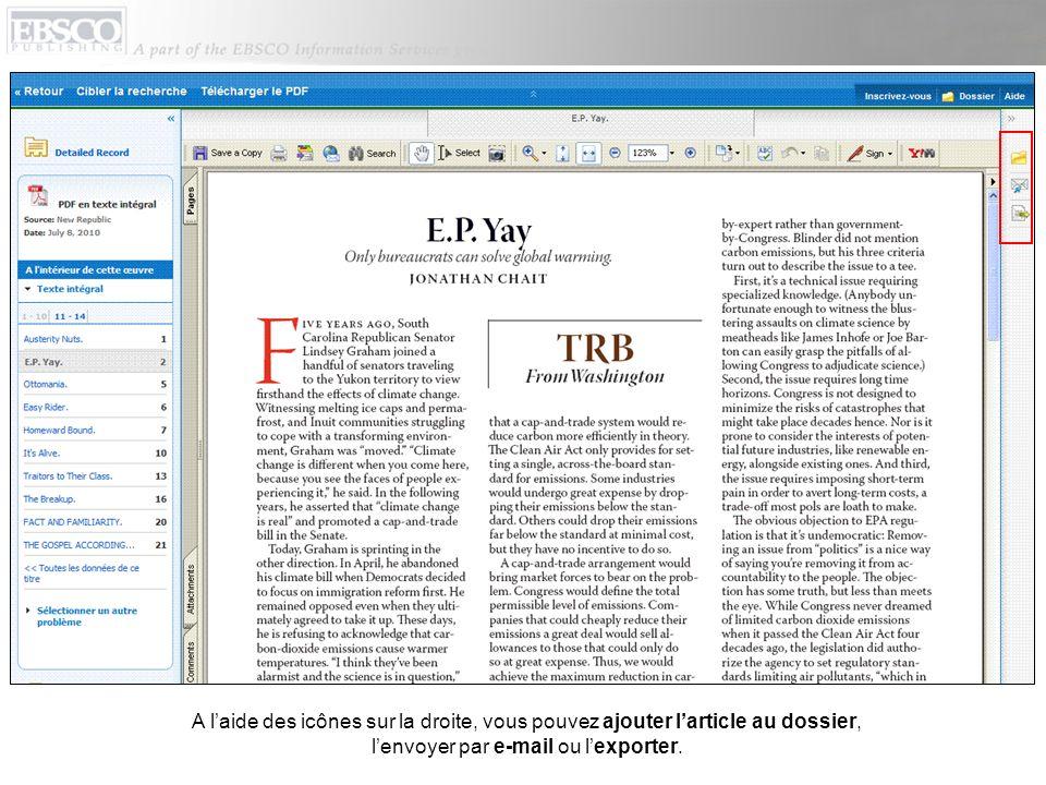 A l'aide des icônes sur la droite, vous pouvez ajouter l'article au dossier, l'envoyer par e-mail ou l'exporter.