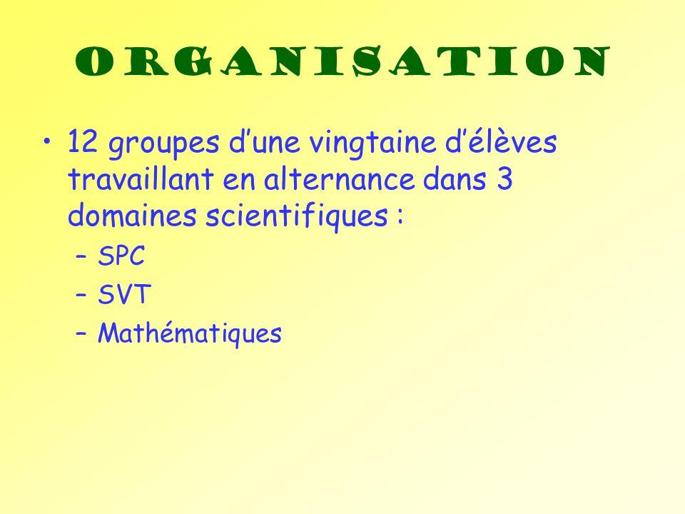 Organisation 12 groupes d'une vingtaine d'élèves travaillant en alternance dans 3 domaines scientifiques :