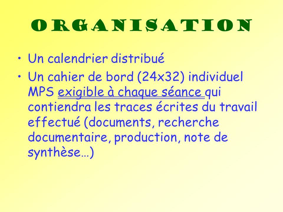 Organisation Un calendrier distribué