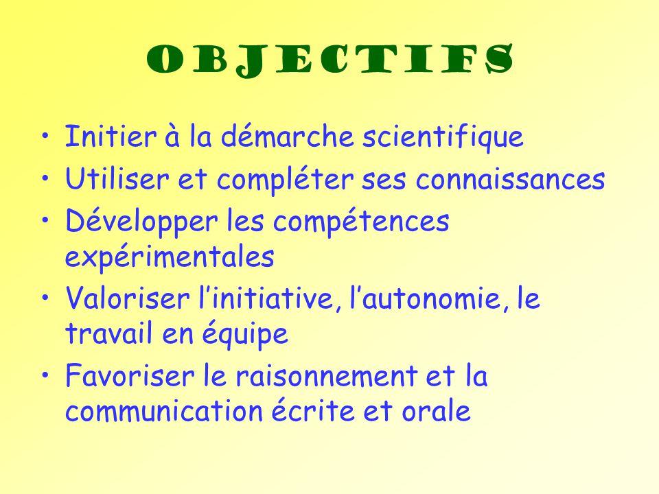 Objectifs Initier à la démarche scientifique