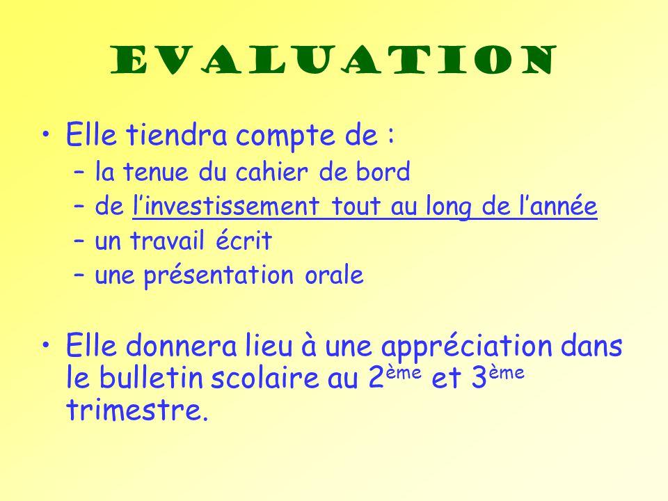 Evaluation Elle tiendra compte de :
