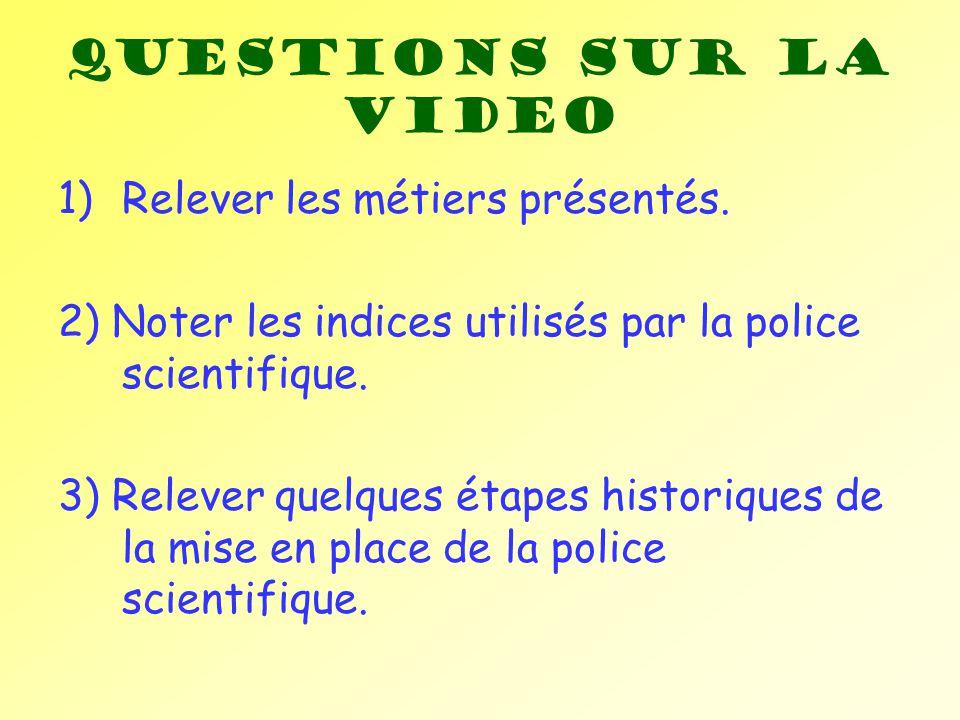 Questions sur la video Relever les métiers présentés.