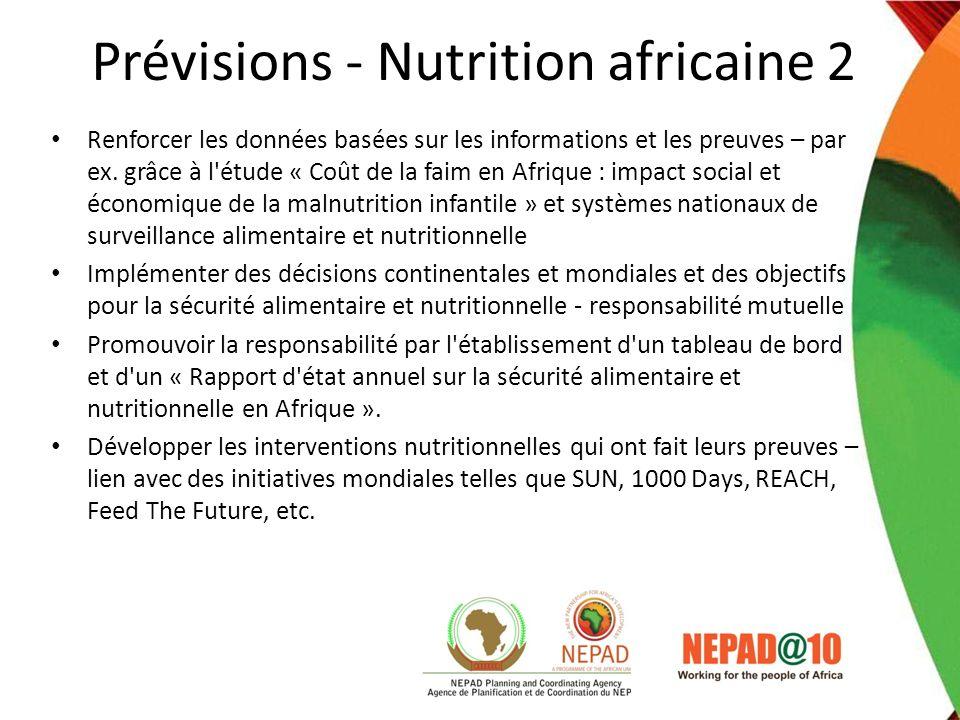 Prévisions - Nutrition africaine 2