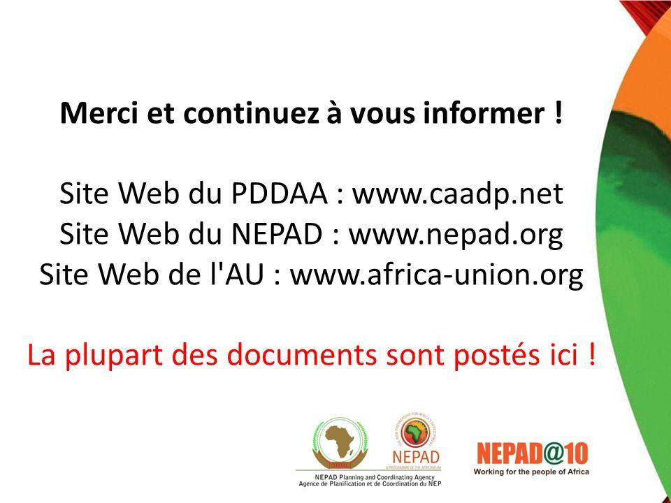 Merci et continuez à vous informer. Site Web du PDDAA : www. caadp