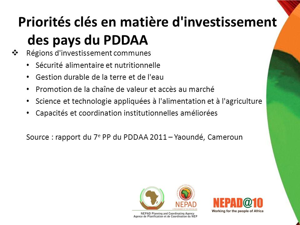 Priorités clés en matière d investissement des pays du PDDAA