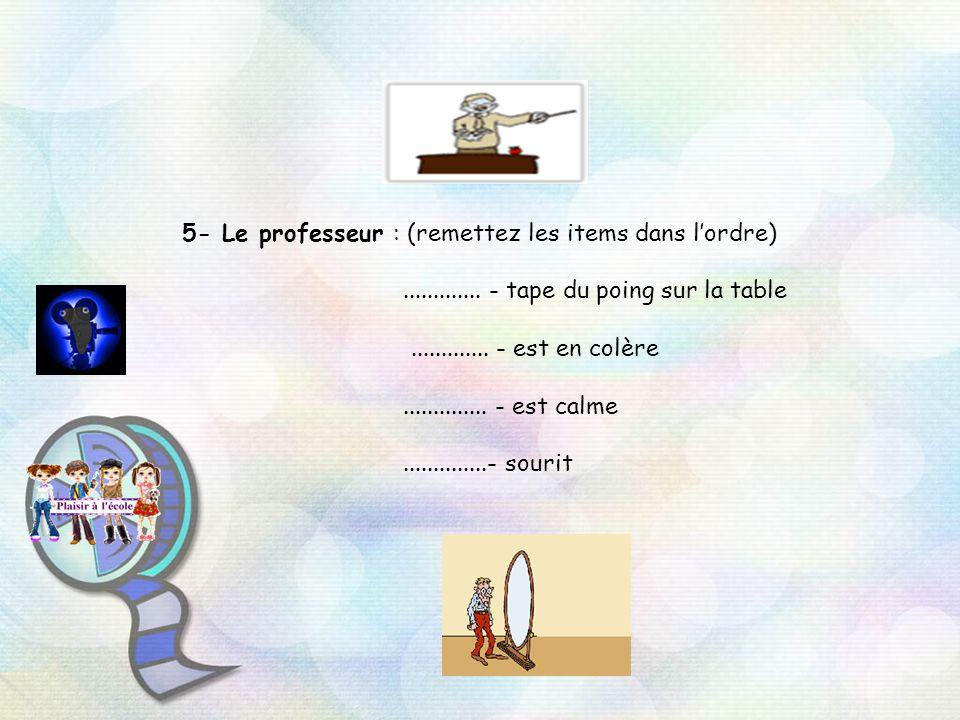 5- Le professeur : (remettez les items dans l'ordre)