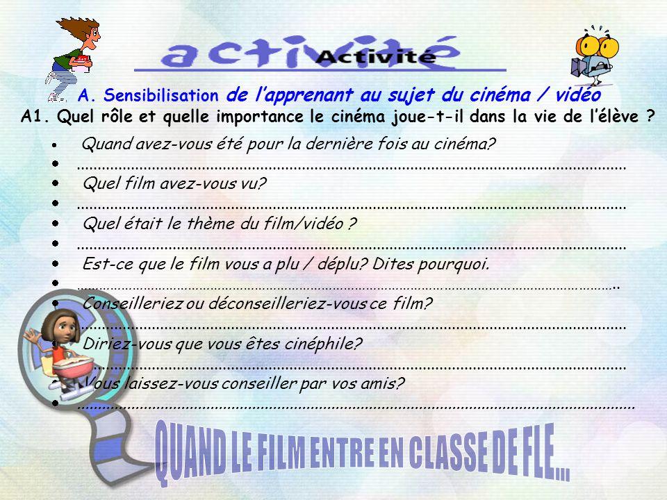 QUAND LE FILM ENTRE EN CLASSE DE FLE...