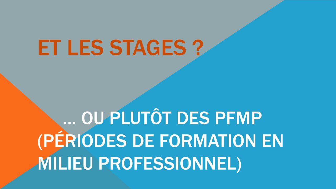 Et les stages … ou plutôt des PFMP (Périodes de Formation en Milieu Professionnel)